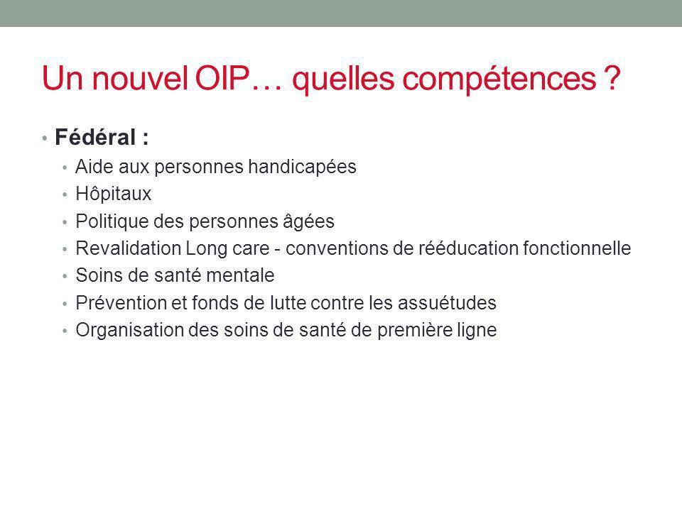 Un nouvel OIP… quelles compétences ? Fédéral : Aide aux personnes handicapées Hôpitaux Politique des personnes âgées Revalidation Long care - conventi
