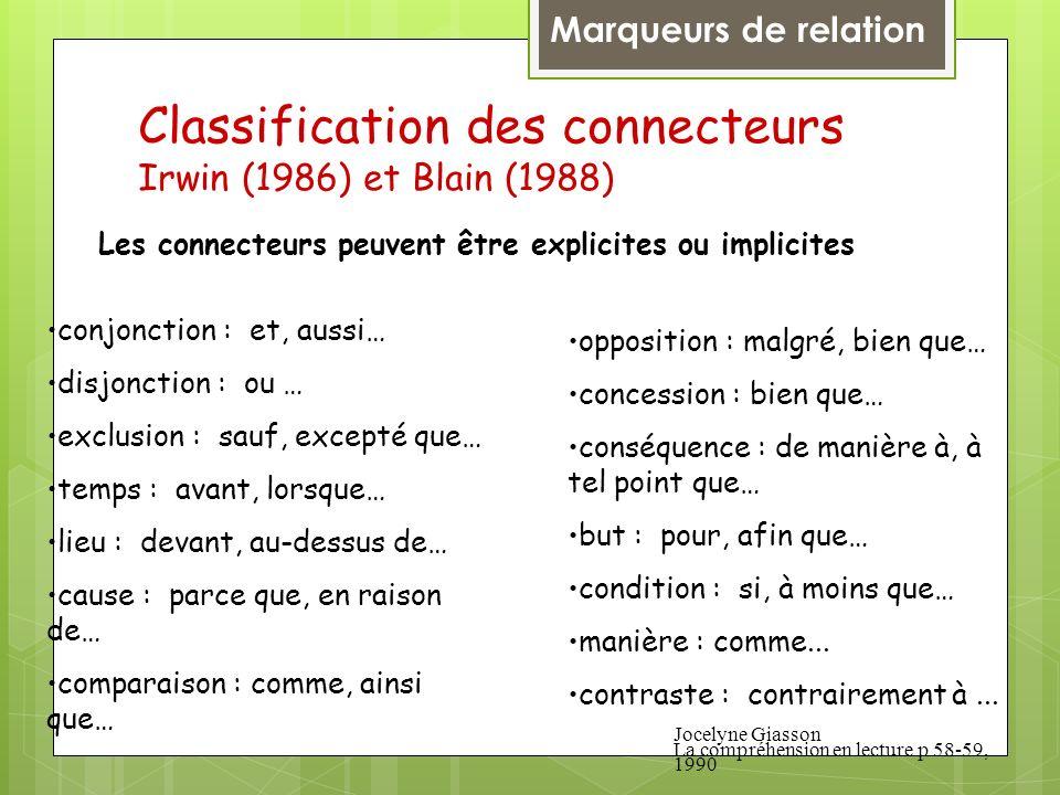 Classification des connecteurs Irwin (1986) et Blain (1988) conjonction : et, aussi… disjonction : ou … exclusion : sauf, excepté que… temps : avant,