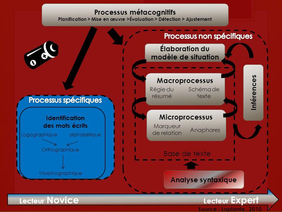 Processus métacognitifs Planification > Mise en œuvre >Évaluation > Détection > Ajustement Élaboration du modèle de situation Macroprocessus Régie du