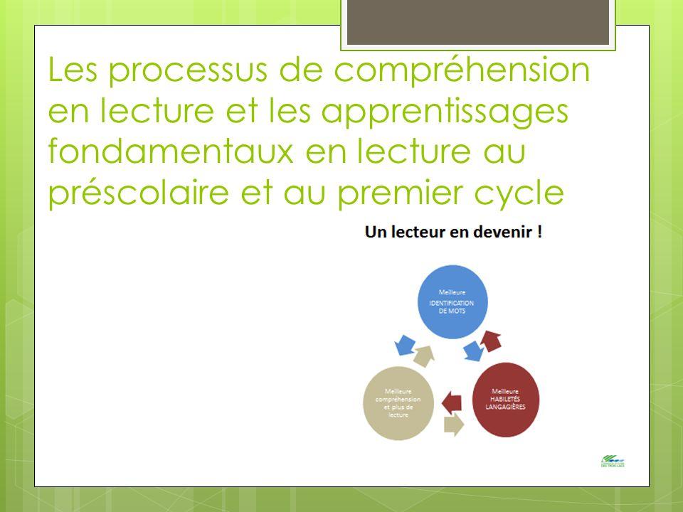 Les processus de compréhension en lecture et les apprentissages fondamentaux en lecture au préscolaire et au premier cycle