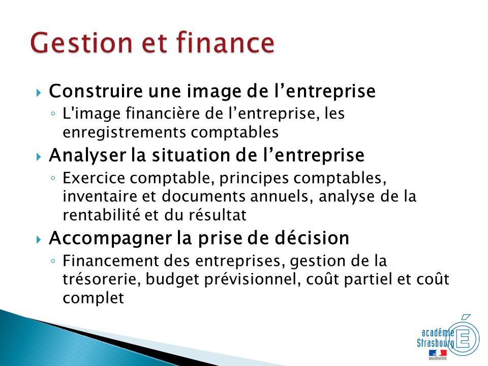 Construire une image de lentreprise L'image financière de lentreprise, les enregistrements comptables Analyser la situation de lentreprise Exercice co