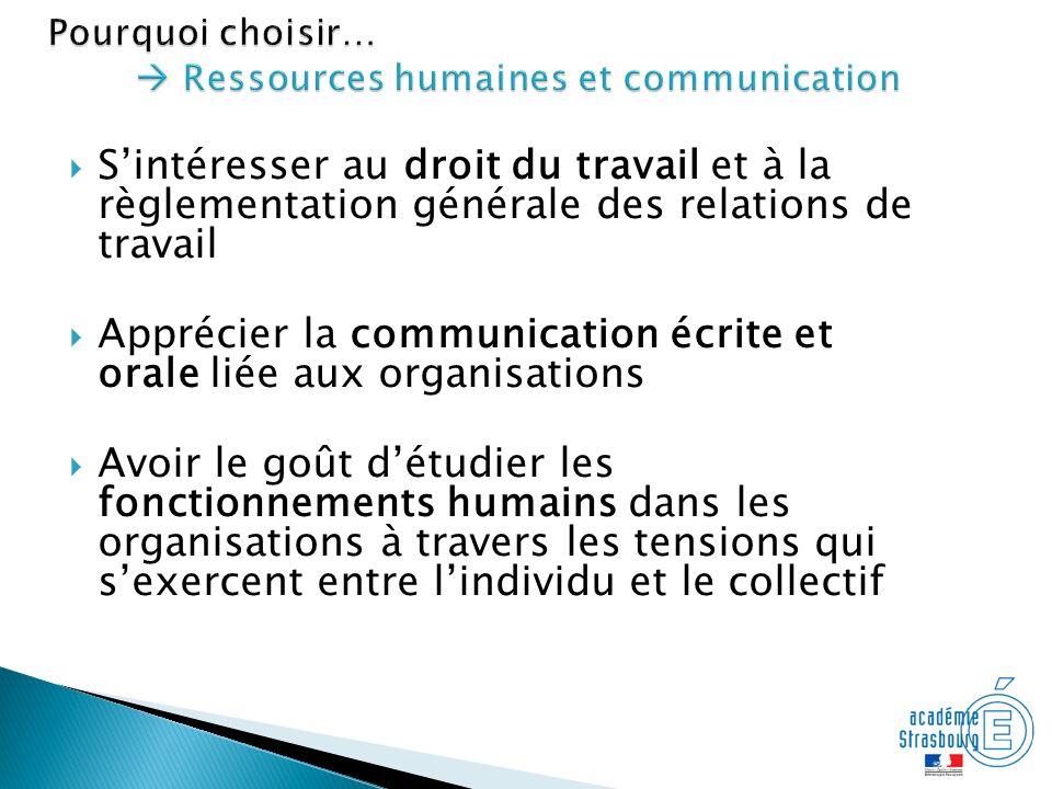 Sintéresser au droit du travail et à la règlementation générale des relations de travail Apprécier la communication écrite et orale liée aux organisat