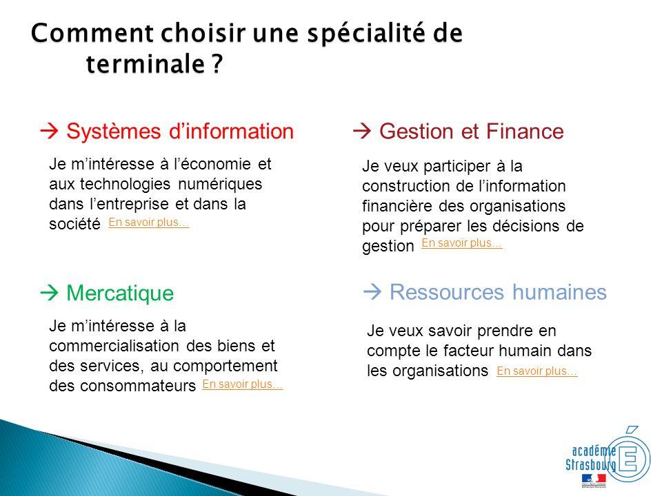 Comment choisir une spécialité de terminale ? Gestion et Finance Systèmes dinformation Ressources humaines Mercatique Je mintéresse à léconomie et aux