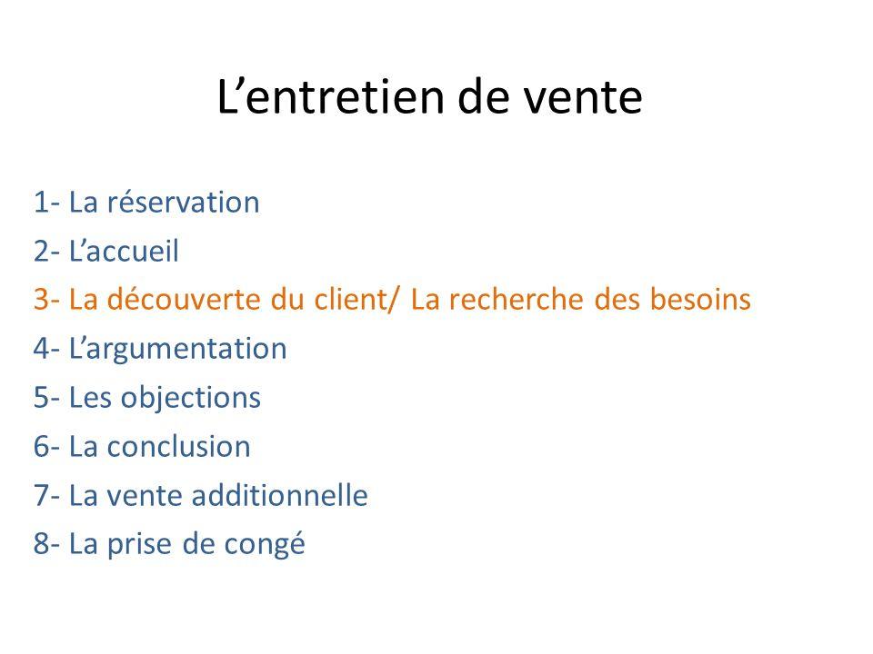 Lentretien de vente 1- La réservation 2- Laccueil 3- La découverte du client/ La recherche des besoins 4- Largumentation 5- Les objections 6- La concl