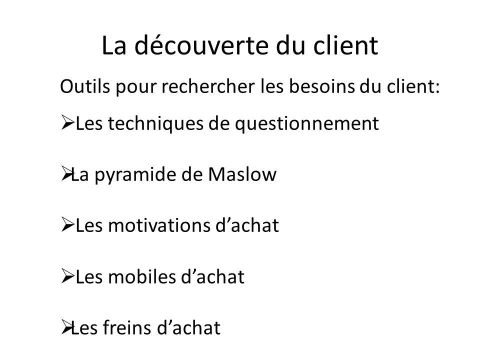La découverte du client Outils pour rechercher les besoins du client: Les techniques de questionnement La pyramide de Maslow Les motivations dachat Le