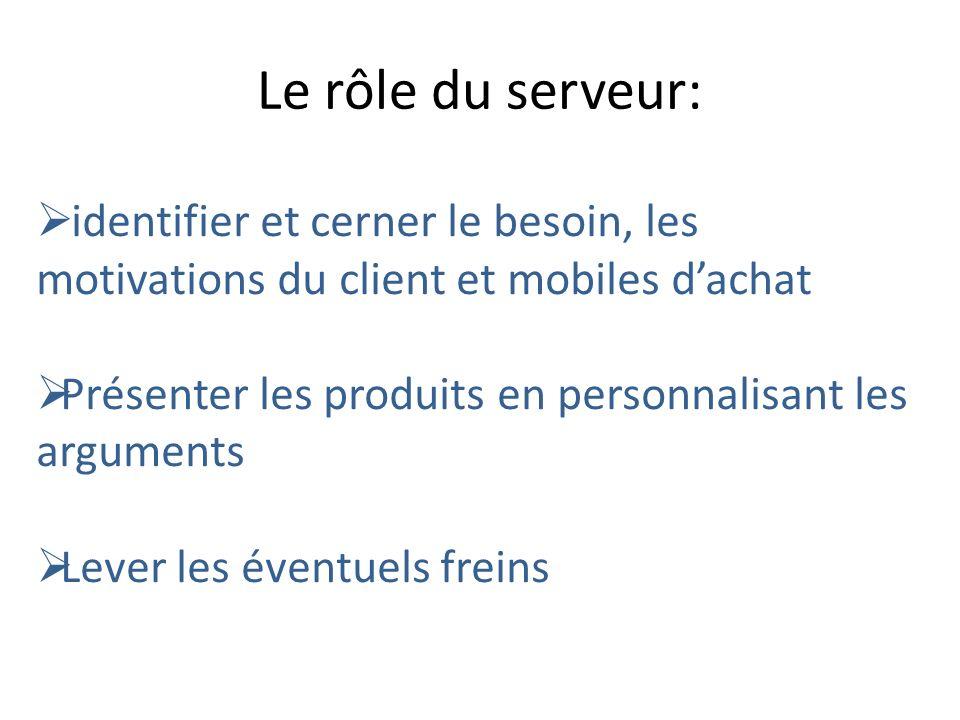 Le rôle du serveur: identifier et cerner le besoin, les motivations du client et mobiles dachat Présenter les produits en personnalisant les arguments