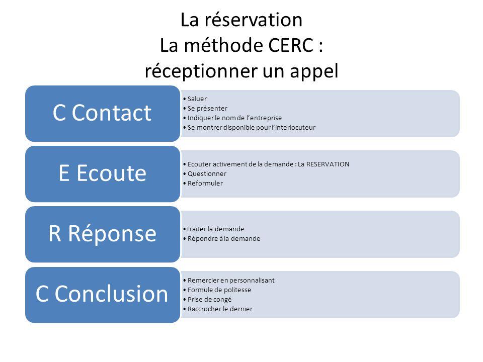 La réservation La méthode CERC : réceptionner un appel Saluer Se présenter Indiquer le nom de lentreprise Se montrer disponible pour linterlocuteur C