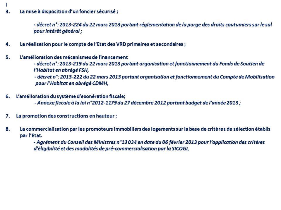l 3. La mise à disposition dun foncier sécurisé ; - décret n°: 2013-224 du 22 mars 2013 portant réglementation de la purge des droits coutumiers sur l