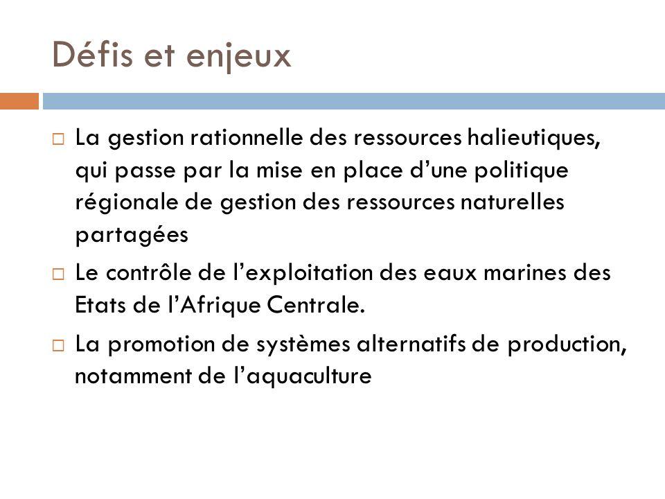 Défis et enjeux La gestion rationnelle des ressources halieutiques, qui passe par la mise en place dune politique régionale de gestion des ressources naturelles partagées Le contrôle de lexploitation des eaux marines des Etats de lAfrique Centrale.