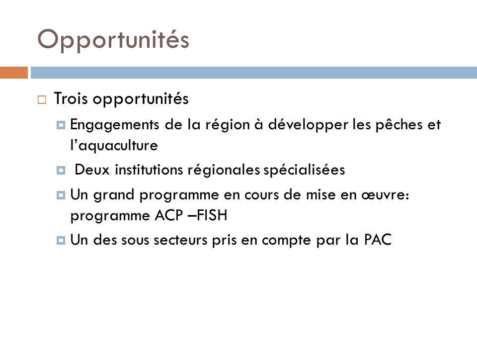 Opportunités Trois opportunités Engagements de la région à développer les pêches et laquaculture Deux institutions régionales spécialisées Un grand programme en cours de mise en œuvre: programme ACP –FISH Un des sous secteurs pris en compte par la PAC