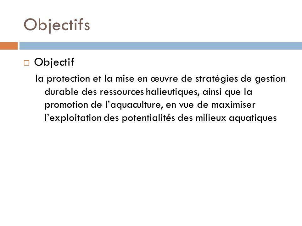 Objectifs Objectif la protection et la mise en œuvre de stratégies de gestion durable des ressources halieutiques, ainsi que la promotion de laquaculture, en vue de maximiser lexploitation des potentialités des milieux aquatiques