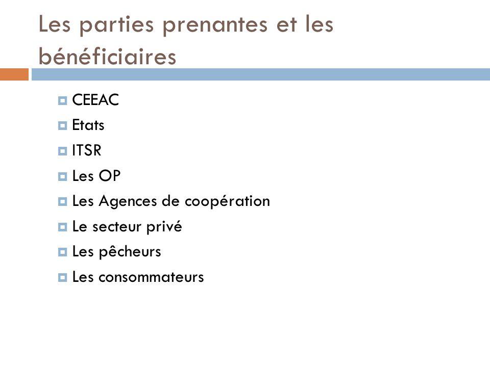 Les parties prenantes et les bénéficiaires CEEAC Etats ITSR Les OP Les Agences de coopération Le secteur privé Les pêcheurs Les consommateurs