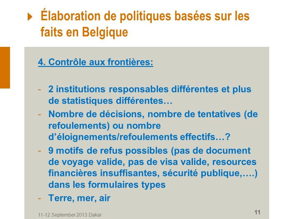 11-12 September 2013 Dakar 11 Élaboration de politiques basées sur les faits en Belgique 4.