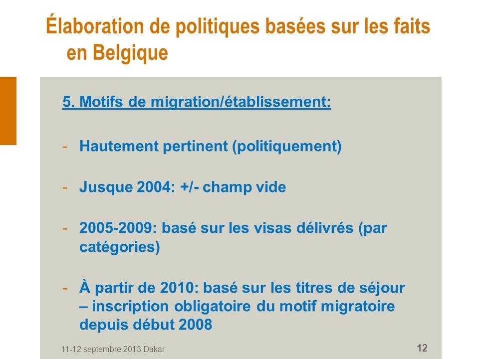 11-12 septembre 2013 Dakar 12 Élaboration de politiques basées sur les faits en Belgique 5.