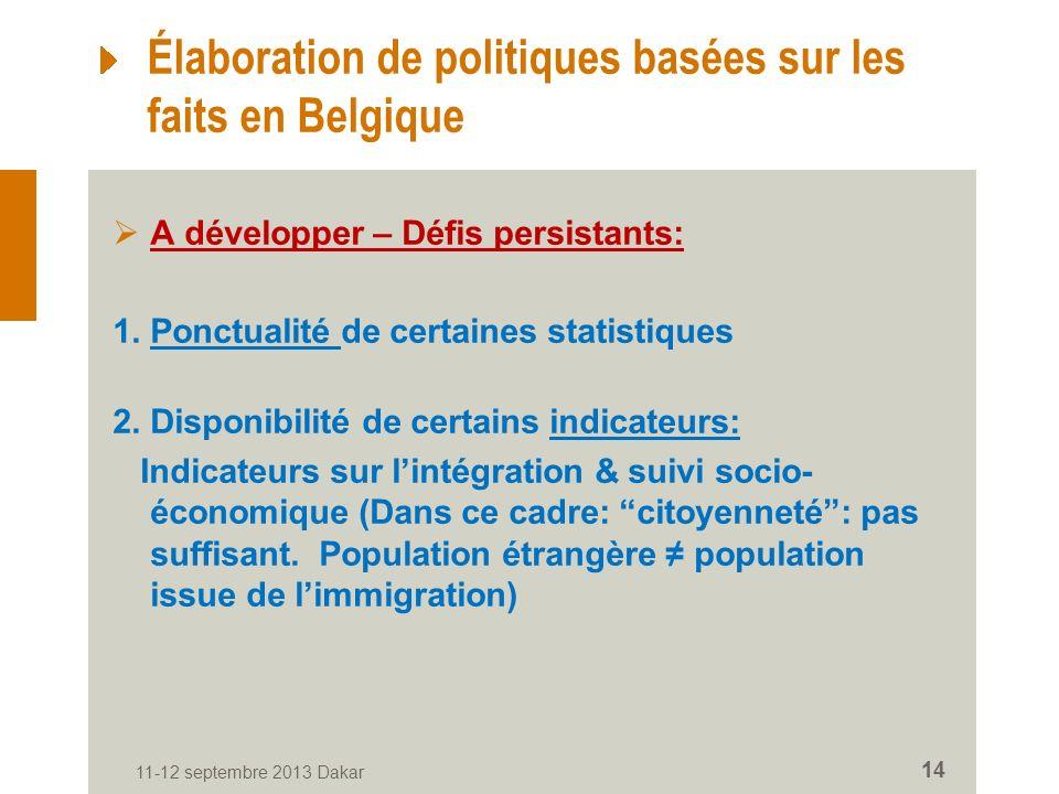 11-12 septembre 2013 Dakar 14 Élaboration de politiques basées sur les faits en Belgique A développer – Défis persistants: 1.
