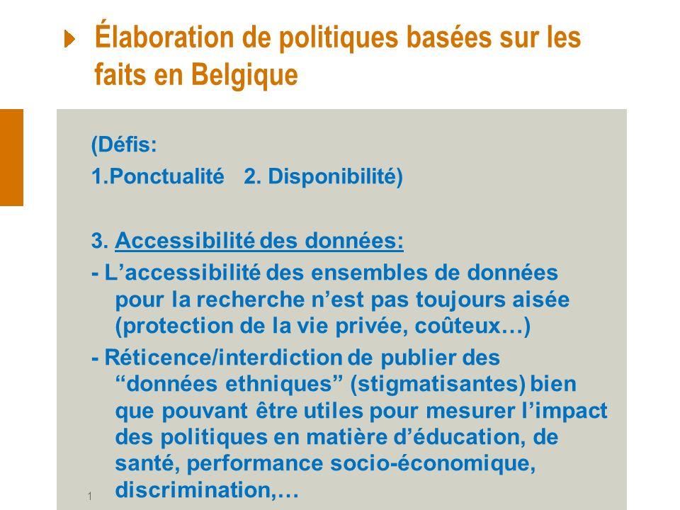 11-12 septembre 2013 17 Élaboration de politiques basées sur les faits en Belgique (Défis: 1.Ponctualité 2.
