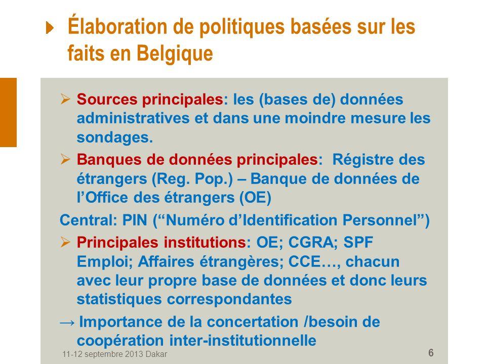 11-12 septembre 2013 Dakar 6 Élaboration de politiques basées sur les faits en Belgique Sources principales: les (bases de) données administratives et dans une moindre mesure les sondages.