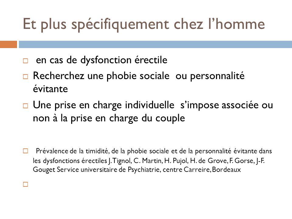 Et plus spécifiquement chez lhomme en cas de dysfonction érectile Recherchez une phobie sociale ou personnalité évitante Une prise en charge individue