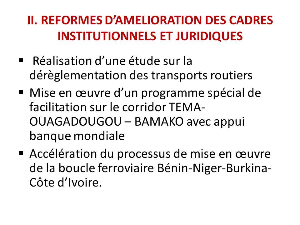 II. REFORMES DAMELIORATION DES CADRES INSTITUTIONNELS ET JURIDIQUES Réalisation dune étude sur la dérèglementation des transports routiers Mise en œuv