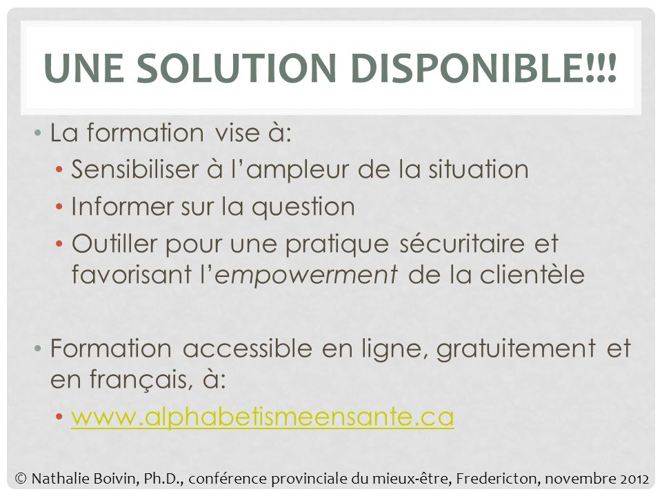 UNE SOLUTION DISPONIBLE!!.