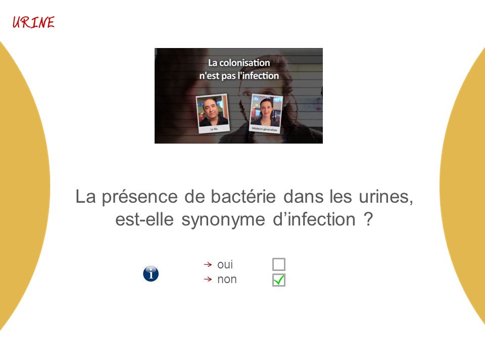 La présence de bactérie dans les urines, est-elle synonyme dinfection oui non