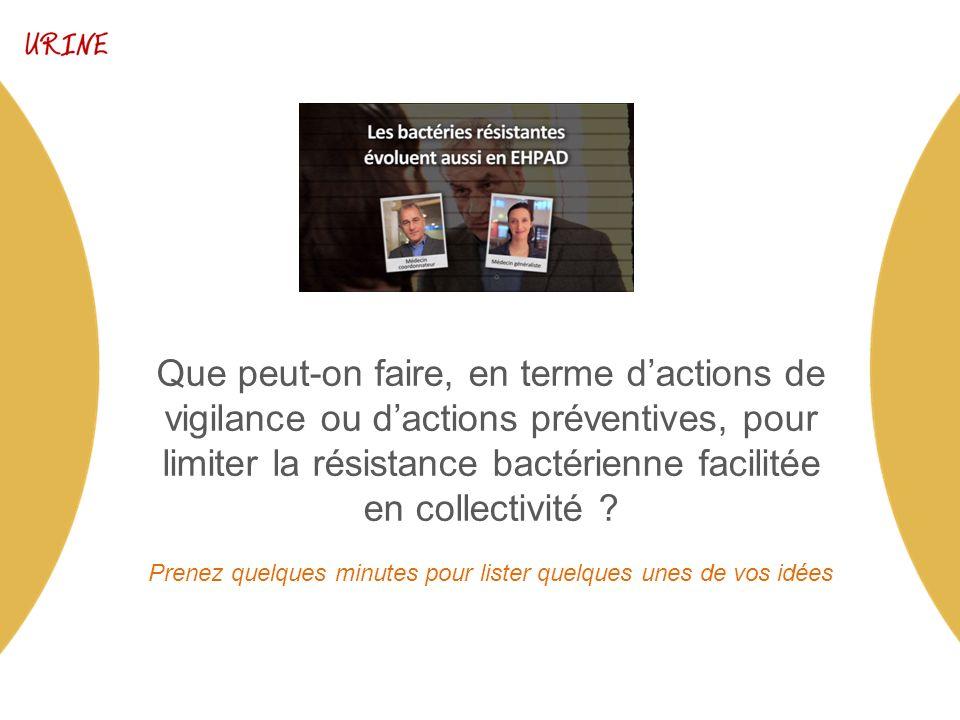 Que peut-on faire, en terme dactions de vigilance ou dactions préventives, pour limiter la résistance bactérienne facilitée en collectivité .