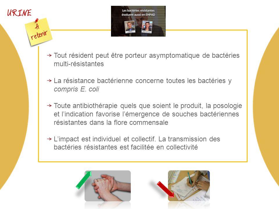 Tout résident peut être porteur asymptomatique de bactéries multi-résistantes La résistance bactérienne concerne toutes les bactéries y compris E.