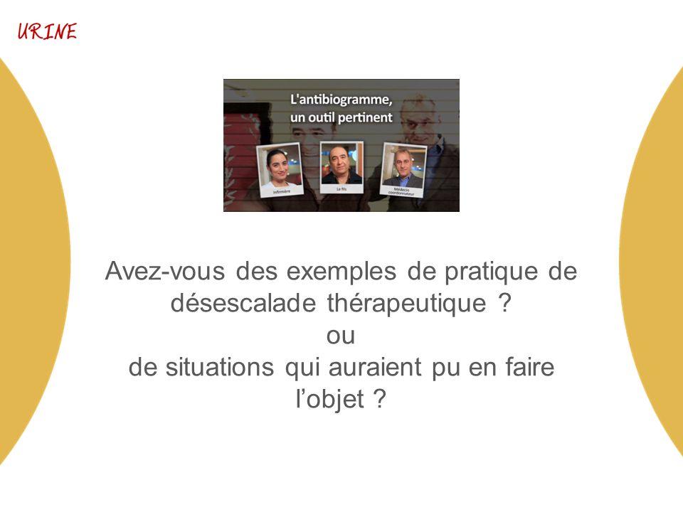 Avez-vous des exemples de pratique de désescalade thérapeutique .