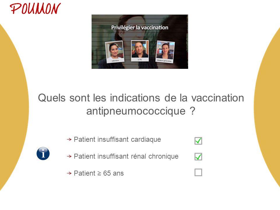 Quels sont les indications de la vaccination antipneumococcique .