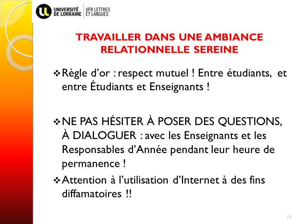 TRAVAILLER DANS UNE AMBIANCE RELATIONNELLE SEREINE Règle dor : respect mutuel .