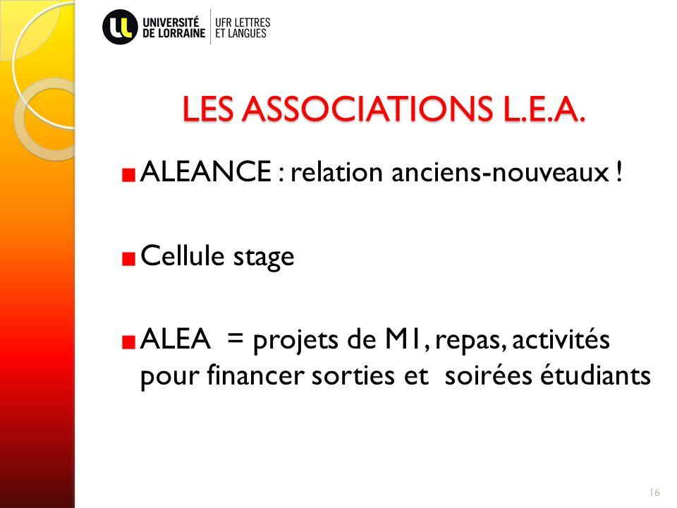 LES ASSOCIATIONS L.E.A.ALEANCE : relation anciens-nouveaux .