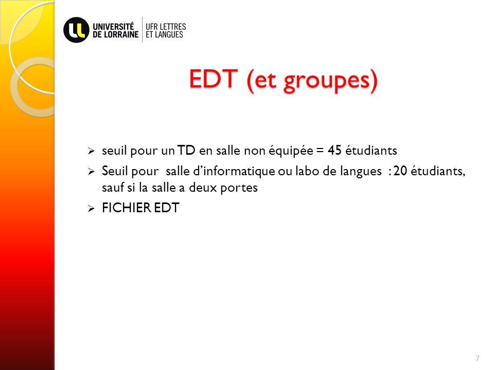 EDT (et groupes) EDT (et groupes) seuil pour un TD en salle non équipée = 45 étudiants Seuil pour salle dinformatique ou labo de langues : 20 étudiants, sauf si la salle a deux portes FICHIER EDT 7