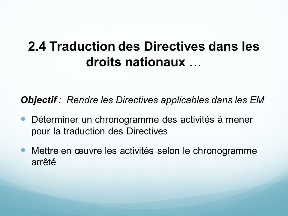 2.4 Traduction des Directives dans les droits nationaux … Objectif : Rendre les Directives applicables dans les EM Déterminer un chronogramme des acti