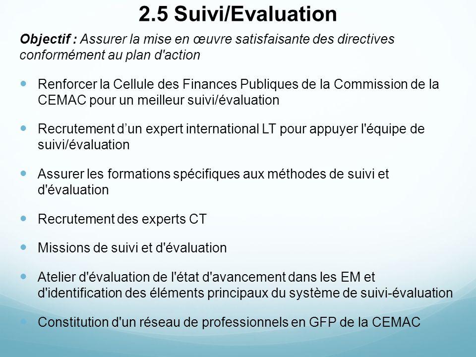 2.5 Suivi/Evaluation Objectif : Assurer la mise en œuvre satisfaisante des directives conformément au plan d'action Renforcer la Cellule des Finances