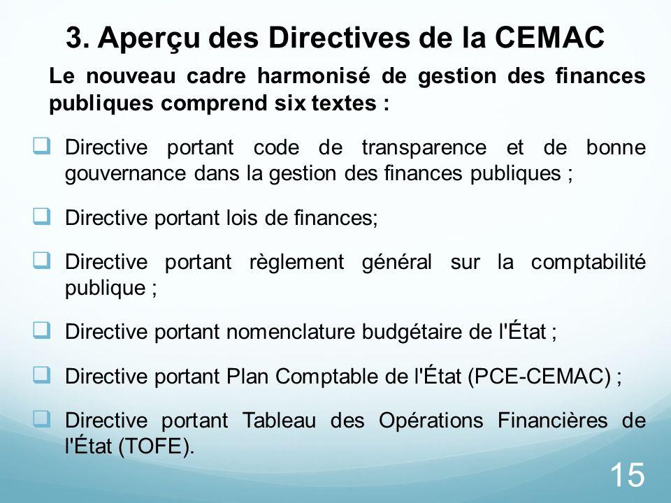 15 3. Aperçu des Directives de la CEMAC Le nouveau cadre harmonisé de gestion des finances publiques comprend six textes : Directive portant code de t