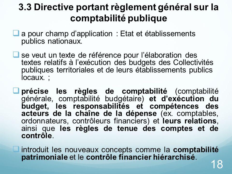 18 3.3 Directive portant règlement général sur la comptabilité publique a pour champ dapplication : Etat et établissements publics nationaux. se veut