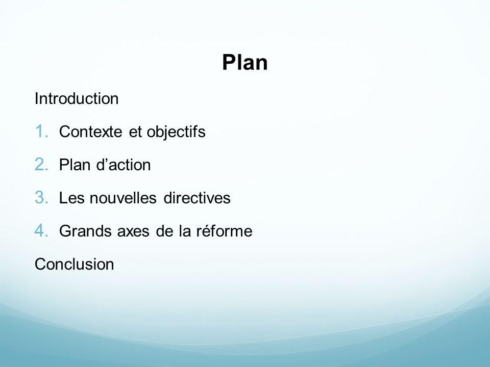 Plan Introduction 1. Contexte et objectifs 2. Plan daction 3. Les nouvelles directives 4. Grands axes de la réforme Conclusion
