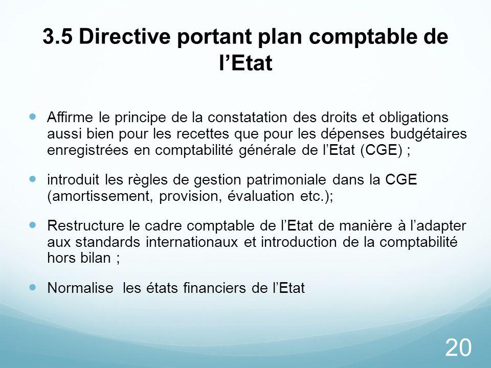20 3.5 Directive portant plan comptable de lEtat Affirme le principe de la constatation des droits et obligations aussi bien pour les recettes que pou