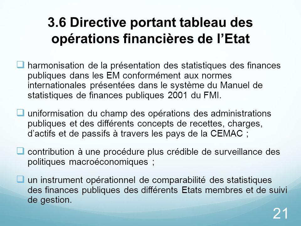 21 3.6 Directive portant tableau des opérations financières de lEtat harmonisation de la présentation des statistiques des finances publiques dans les