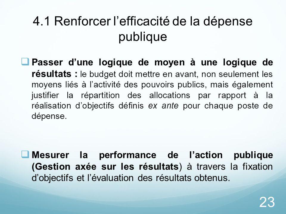 23 4.1 Renforcer lefficacité de la dépense publique Passer dune logique de moyen à une logique de résultats : le budget doit mettre en avant, non seul