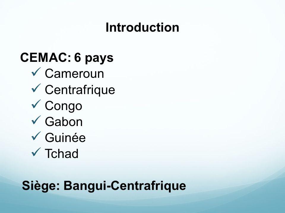Introduction CEMAC: 6 pays Cameroun Centrafrique Congo Gabon Guinée Tchad Siège: Bangui-Centrafrique