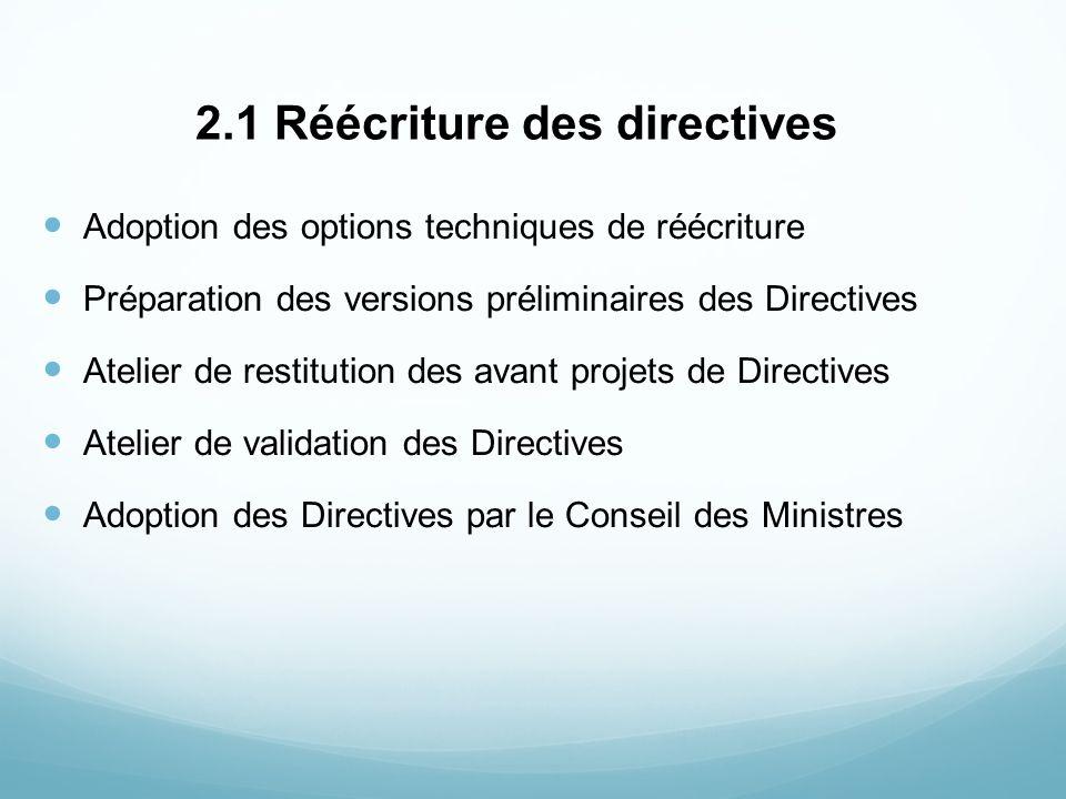 2.1 Réécriture des directives Adoption des options techniques de réécriture Préparation des versions préliminaires des Directives Atelier de restituti
