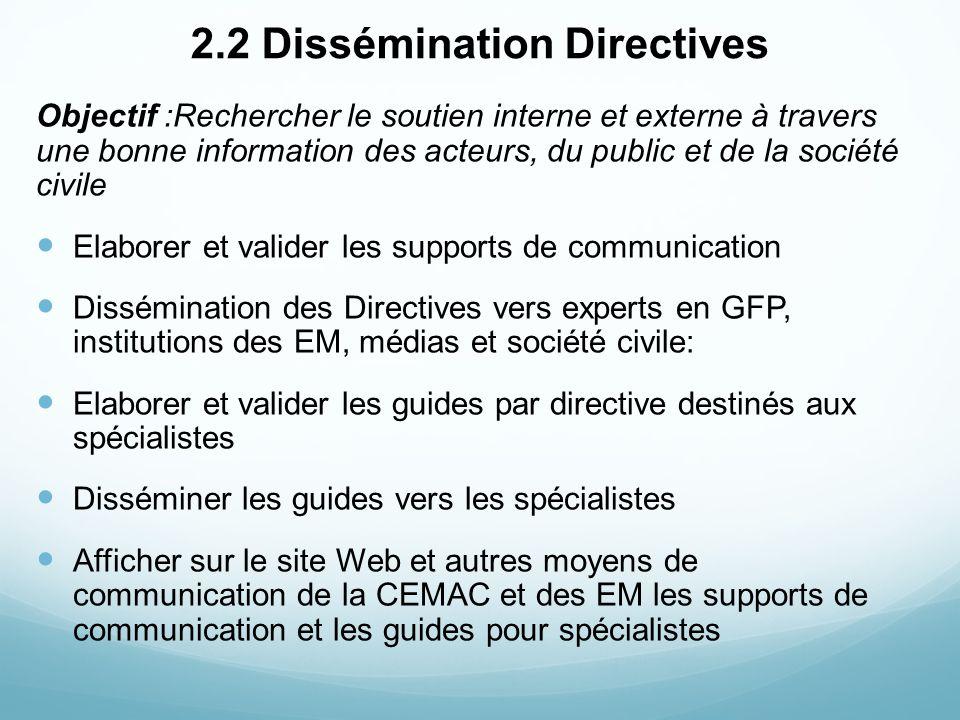 2.2 Dissémination Directives Objectif :Rechercher le soutien interne et externe à travers une bonne information des acteurs, du public et de la sociét