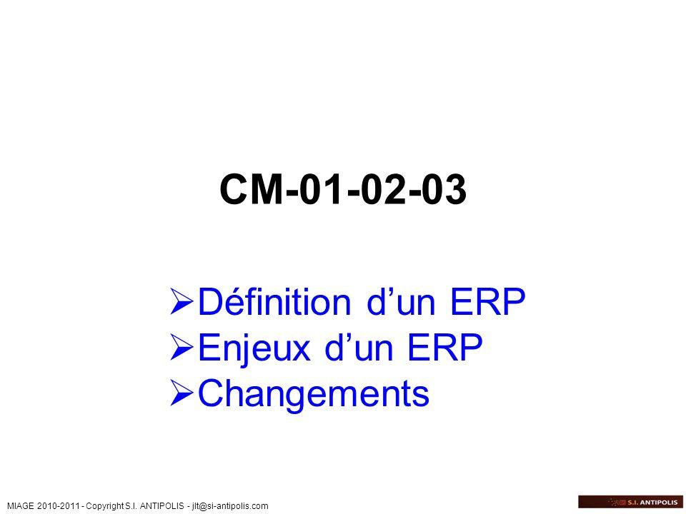 MIAGE 2010-2011 - Copyright S.I. ANTIPOLIS - jlt@si-antipolis.com CM-01-02-03 Définition dun ERP Enjeux dun ERP Changements