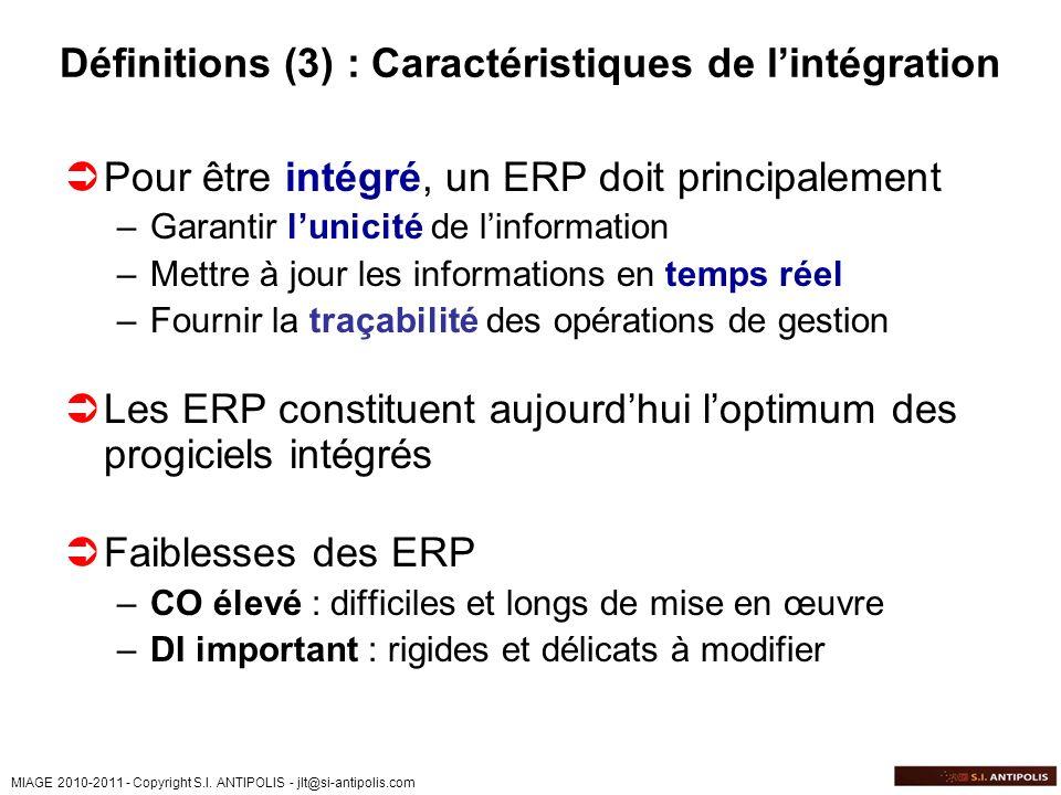 MIAGE 2010-2011 - Copyright S.I. ANTIPOLIS - jlt@si-antipolis.com Définitions (3) : Caractéristiques de lintégration Pour être intégré, un ERP doit pr