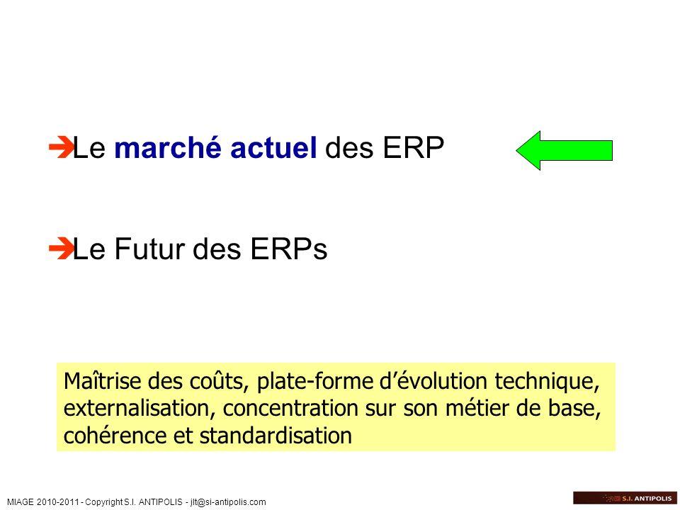 MIAGE 2010-2011 - Copyright S.I. ANTIPOLIS - jlt@si-antipolis.com Le marché actuel des ERP Le Futur des ERPs Maîtrise des coûts, plate-forme dévolutio