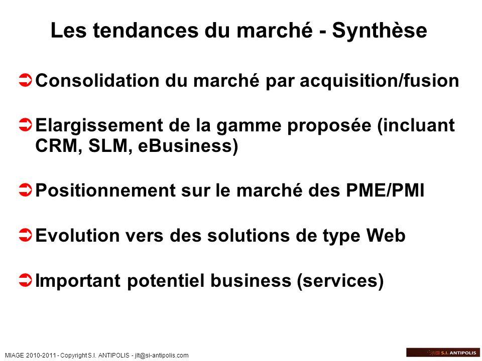 MIAGE 2010-2011 - Copyright S.I. ANTIPOLIS - jlt@si-antipolis.com Les tendances du marché - Synthèse Consolidation du marché par acquisition/fusion El
