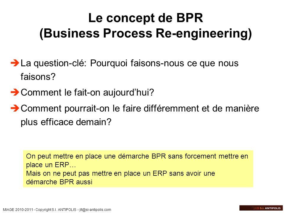MIAGE 2010-2011 - Copyright S.I. ANTIPOLIS - jlt@si-antipolis.com Le concept de BPR (Business Process Re-engineering) La question-clé: Pourquoi faison