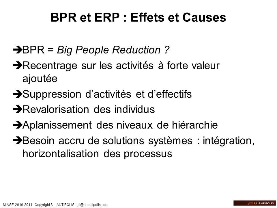 MIAGE 2010-2011 - Copyright S.I. ANTIPOLIS - jlt@si-antipolis.com BPR et ERP : Effets et Causes BPR = Big People Reduction ? Recentrage sur les activi