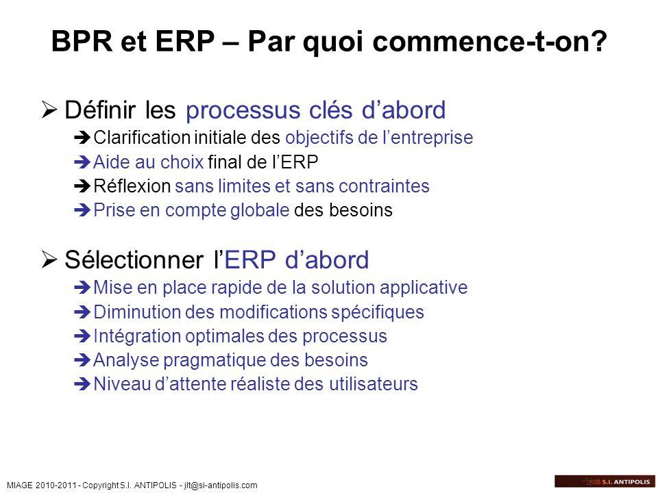 MIAGE 2010-2011 - Copyright S.I. ANTIPOLIS - jlt@si-antipolis.com BPR et ERP – Par quoi commence-t-on? Définir les processus clés dabord Clarification
